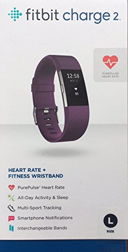 Fitbit Charge 2 Fitness Wristband / PURPLE color Band / Large / Heart Monitor / Steps Monitoring by Fitbit