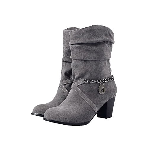 Pull on Gray Suede Boots Round Kitten Allhqfashion Solid Imitated Heels Toe Closed Women's apnzqxvO