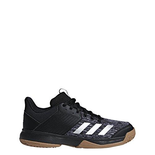 adidas Unisex Ligra 6 Volleyball Shoe, Black/Silver Metallic/White, 4 M US Big Kid
