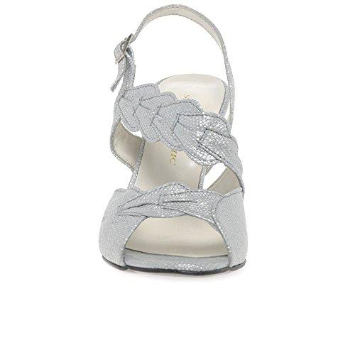 Sabrina Chic Selena Womens Asymmetric Sling Back Heels Silver Print IOICqs7v