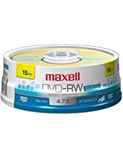 Maxell 635117 4.7 GB Rewritable DVD-RW Spindle (15 Pack)