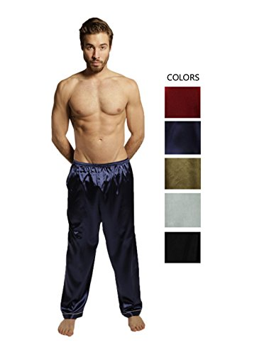 Mens Silk Lounge Pants - SILK MODA Mens Silk Pajama Sleep/Lounge Pants (Light Weight/Summer) L Dark Blue