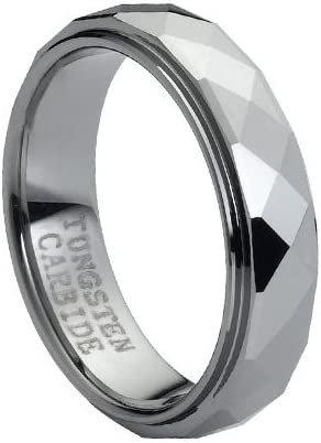 Tungsten Carbide Domed Faceted Ring Stepped Edge 6mm Wedding Band Ring 6 Size