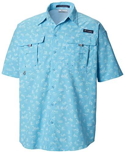 Columbia Men's PFG Super Bahama Short Sleeve Shirt, Atoll Mermaids N Marlins Print,Medium