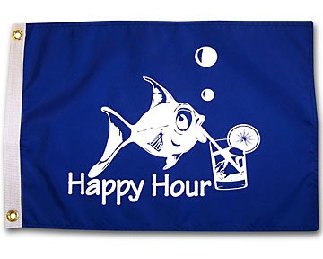 Happy Hour Fish Royal Blue Outdoor Garden Flag 12X18in