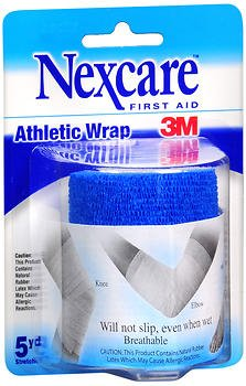 Nexcare First Aid Athletic Wrap, Blue - 3 Inches X 2.2 Yards, Pack of 4 (Athletic Nexcare Wrap)