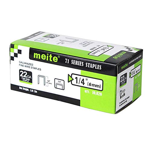 meite 22G71S14 22 Gauge 71 Series 3/8-Inch Crown or C-Crown 1/4-Inch Leg Length Galvanized Fine Wire Staples(10020pcs/Box) 3/8 Crown 1/4 Leg