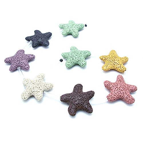 Star Shape Smooth Coloured Lava Stone Loose Beads - Lava Rock Beads Volcanic Gemstone for Beaded Necklace Bracelet DIY Handmade Jewelry Making (40 x 40 x 10mm)]()