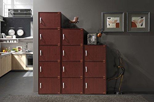 Hodedah 5 Door, Five Shleves, Enclosed Storage Cabinet, Mahogany by HODEDAH IMPORT (Image #5)