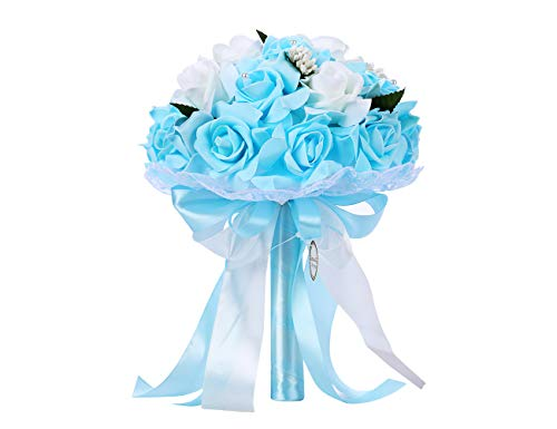 Bodarind Handmade Wedding Bridal Bouquet Artificial Flowers Rose with Fake Pearl and Ribbon for Bridesmaid Bride (Blue)