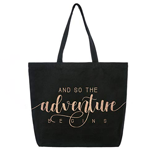 ElegantPark And So the Adventure Begins Wedding Bride Tote Bachelorette Party Gift Personalized Travel Shoulder Bag Canvas Black with Champagne Glitter