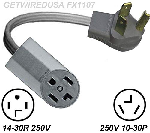 Old Style Dryer 10-30P 3-Pin Male 220/250V Plug To New Style Dryer 14-30R 220/250V 4-Prong Female Receptacle Socket Outlet Adapter, Electrical Power Connector Cord Convert NEMA UL-FX1107-D (4 Prong To 3 Prong Dryer Cord Adapter)