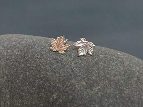 Maple Leaf Earrings, Sterling Silver Stud Earrings