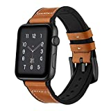 GOSETH iwatch Series 4 44mm Series 3/2/1 42mm Band, Soft Genuine Leather with Silicone Lining Replacement Watch Band Compatible with Apple Watch Series 4/3/2/1 Men Women(Brown)