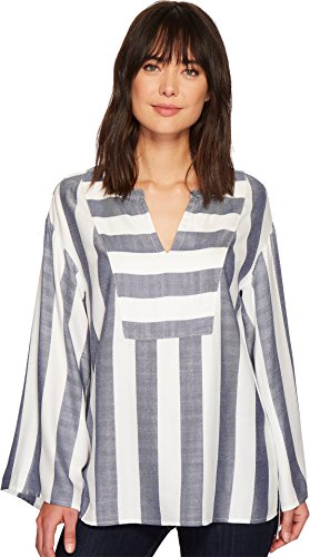 Twilight Womens V-neck - Two by Vince Camuto Women's Bell Sleeve Refined Herringbone V-Neck Shirt Twilight Sky X-Large
