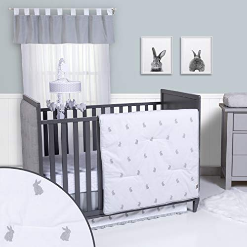 Trend Lab Bunnies 3 Piece Crib Bedding Set, Gray/White