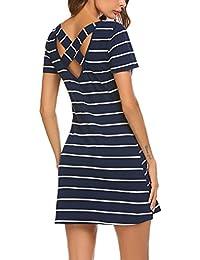 Women's Casual Striped Criss Cross Short Sleeve T Shirt Mini Dress with Pockets