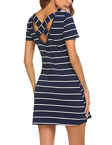 Feager Summer Round Neck Casual Striped Criss Cross Short Sleeve Dress Blue,...