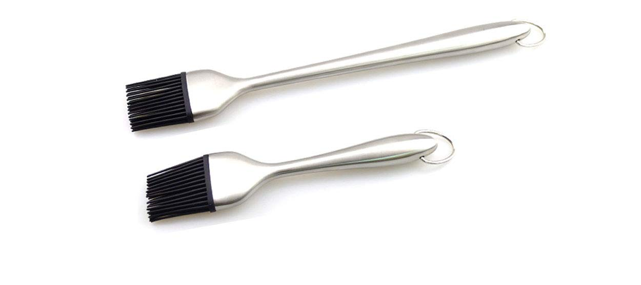 CXI Grill Brush, Basting Brush and Pastry Brush-Set of 2 Silicone Brush with Stainless Steel Handle 12 Inch/7 Inch-Great for BBQ Meat,Grill,Cakes and Pastries, CMUZI-ZCCF5