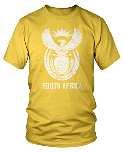 (Amdesco Men's South Africa Coat of Arms, South African T-Shirt, Yellow)