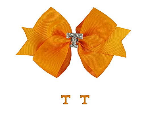 Tennessee Volunteers Rhinestone Charm Orange Hair Bow and Post Earrings Gift Set by Sports Accessory Store