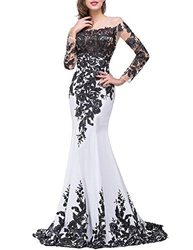 Celebrity Wedding Gowns (OYISHA Womens Appliqued Evening Dress Long Mermaid Wedding Celebrity Gown EV122 Ivory)