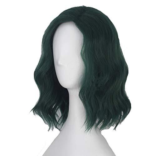 Veribuy Halloween Unisex Adult Cosplay Wig Cosplay Costume Blackish Green Short Curly Hair -