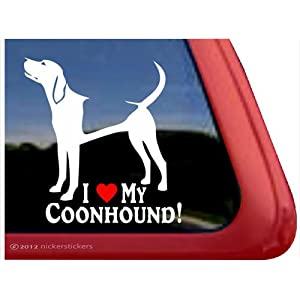 I Love My Coonhound! | American English Coonhound Vinyl Dog Decal Auto Truck Tablet Laptop Sticker 1