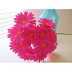 Silk Flower Arrangements 12 Fuchsia Gerbera Daisies on Stems Hot Pink 3 Inch Gerber Daisy Paper Flowers Bouquet