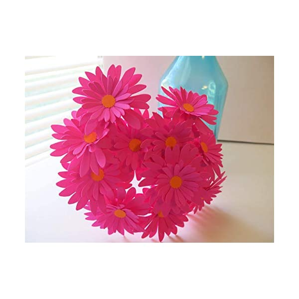12 Fuchsia Gerbera Daisies on Stems, Dark Hot Pink 3 Inch Gerber Daisy Floral Picks, Handcrafted Paper Flowers
