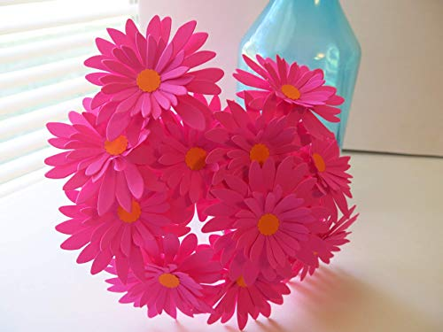 (12 Fuchsia Gerbera Daisies on Stems, Dark Hot Pink 3 Inch Gerber Daisy Floral Picks, Handcrafted Paper)