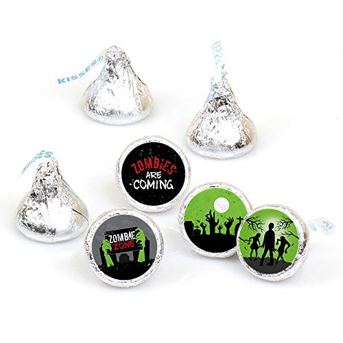 Zombie Zone - Halloween or Birthday Zombie Crawl Party Round Candy Sticker Favors - Labels Fit Hershey's Kisses (1 Sheet of 108)