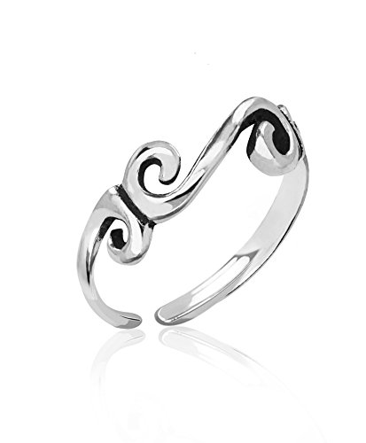 (Honolulu Jewelry Company Sterling Silver Tribal Scroll with Antique Finish Toe Ring)