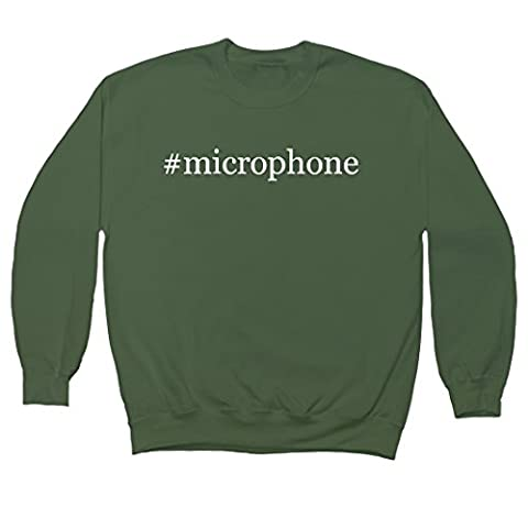 #microphone - Hashtag Men's Crewneck Fleece Sweatshirt, Military, X-Large
