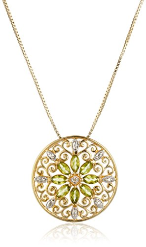 18k Yellow Gold Plated Sterling Silver Genuine Peridot and Diamond Accent Filigree Mandala Pendant Necklace, 18