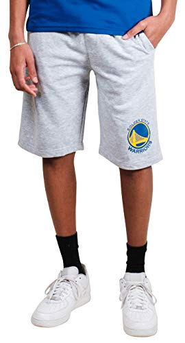 Ultra Game NBA Golden State Warriors Men's Active Workout Stripe Basketball Shorts, Heather Gray, XX-Large