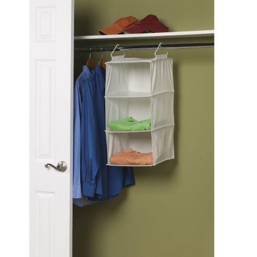 Household Essentials 311342 Hanging Closet Organizer   3 Pocket Shelves   Natural Canvas