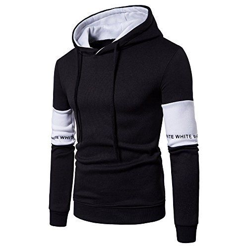 Personalized Omega Necklace (QBQCBB Fashion Men's Stitching Long Sleeve Pullover Letter Print Hooded Sweatshirt(Black,2XL))