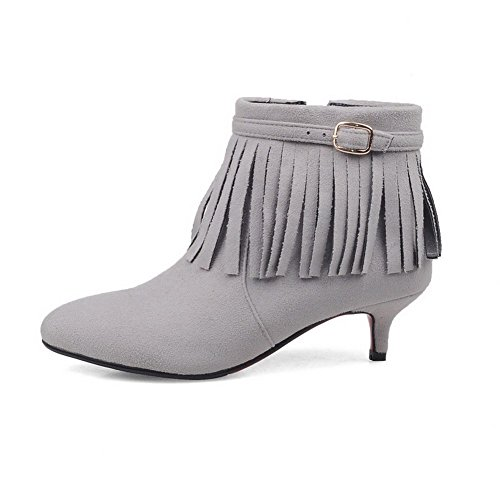 Women's Pointed Closed top Solid Boots Heels Kitten AgooLar Low Gray Toe Frosted d4ZaxdwS