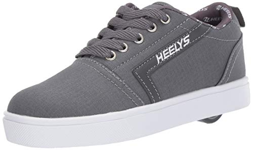 Heelys Boys' GR8 Pro Tennis Shoe, Charcoal/White RIP Stop, 6 M US Big Kid