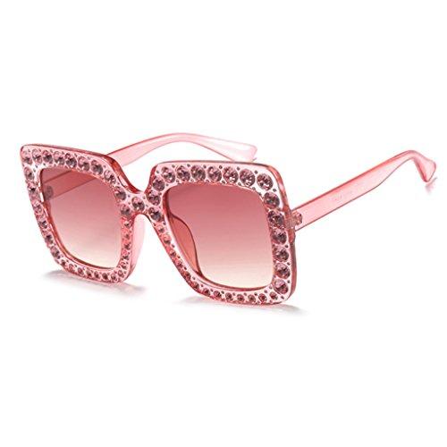 Hukai Women Square Rhinestone Frame Sunglasses Protection Goggles Colored Lens Glasses (Pink - Chicken With Sunglasses