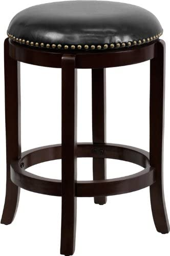 Flash Furniture 24 High Backless Cappuccino Wood Counter Height Stool with Black Leather Swivel Seat