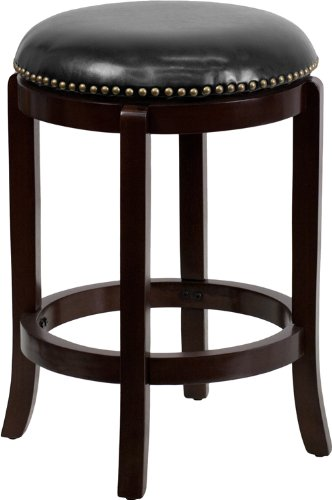 Back Leather Counter Stool (Flash Furniture 24'' High Backless Cappuccino Wood Counter Height Stool with Black Leather Swivel Seat)