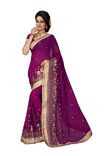 Indian Sarees for Women Wedding Designer Party Wear Traditional Wine Saree. by Fashions Trendz
