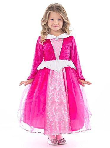 Little Adventures Deluxe Sleeping Beauty Hot Pink Dress Up Costume For Girls - Medium (3-5 (Deluxe Sleeping Beauty Dress)