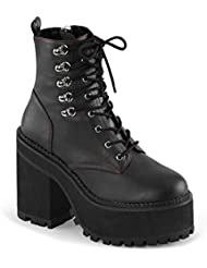 Summitfashions Womens Vegan Leather Boots Black Platform Shoes Lace up Chunky Heel 4 3/4 inch