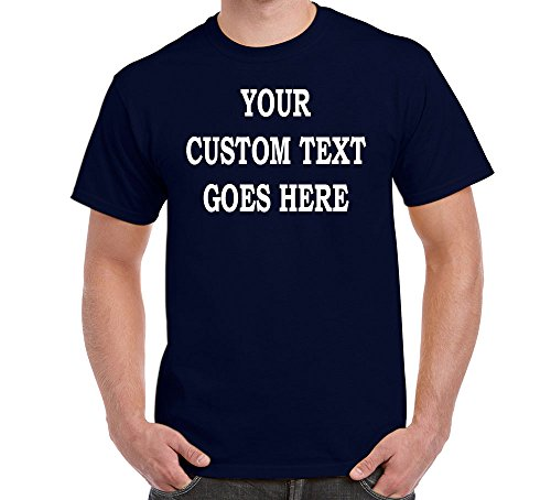 Custom T-Shirt Add Your Own Text Personalized Customized Tee Navy Blue 2X