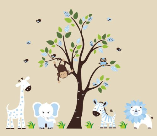 Baby Boys Blue and White Decals | Safari Design | Jungle Themed | Powder Blue | Giraffe | Elephant | Tiger | Lion | Big Tree | Monkey | Owls | Birds | Children's Wall Mural | Animal Prints -