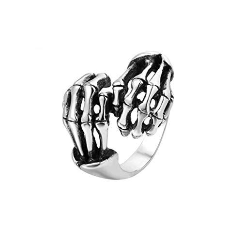 LAFATINA Vintage Skull Hand Punk Skeleton Ring, Stainless Steel Goth Biker Rocker Hand Wrap Band Ring for Men Teen Skeleton Bone Hand Ring Cosplay Halloween -