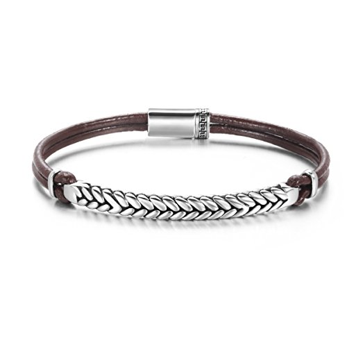 Carleen Footprint 925 Sterling Silver Genuine Mens Leather Bracelet Braided Rope Energy Charm Magnetic Clasp, 7.5
